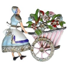 Charming 1930's Flower Cart Moveable Wheel Pot Metal Brooch Pin