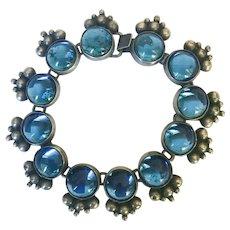 Vintage 1940s Sterling Silver Blue Glass Mexico Bracelet