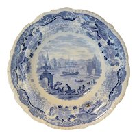 Blue & White Soup Plate: Italian Scenery
