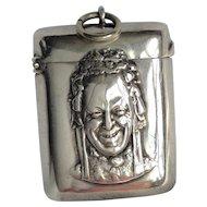 Charley's Aunt  Sterling Silver Vesta Case/Matchsafe hallmarked 1895
