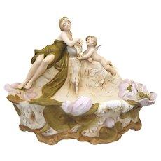 Royal Dux Centrepiece Bowl: Water Nymph and Cherub