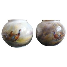 Matched Pair of Royal Worcester Posy Vases: Hand Painted Pheasants: One signed James Stinton