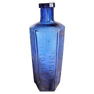 Cobalt Glass Ribbed Poison Bottle: 8oz