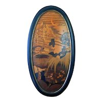 Oval Art Deco Marquetry panel depicting a Lady with a Fan