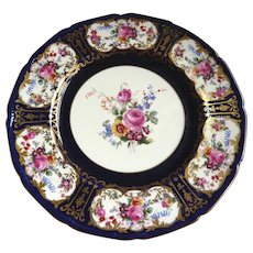 A Pair of Royal Doulton Cabinet Plates: Floral Decoration, Cobalt and Gilding
