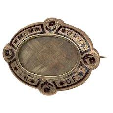 Victorian Gold & Enamel Memorial Brooch
