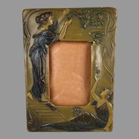 Rare Art Nouveau Figural Butterscotch Celluloid Frame