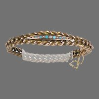 Victorian 14K Rose Gold Turquoise Pearl Bangle Bracelet