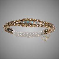 Victorian 14K Rose Gold Turquoise Pearl Bangle Bracelet