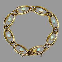 English Victorian 9K Gold Link Chain Bracelet with Opals