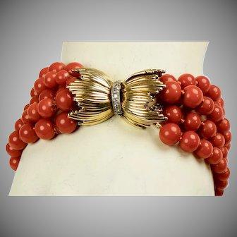 Vintage 14K Gold Coral Diamond Bracelet