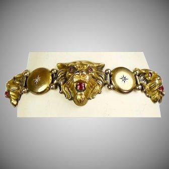English Victorian 9K Gold Lion's Head Bracelet