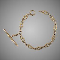 Victorian 14K Gold Link Watch Chain Bracelet