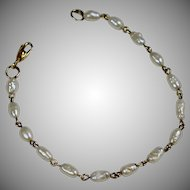 Vintage 14K Gold Fresh Water Pearl Bracelet