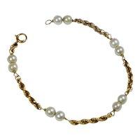 Vintage 14K Gold Cultured Pearl Bracelet