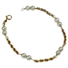 Vintage 14K Gold Cultured Pearl Bracelet