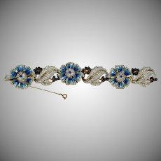 Stunning RARE Vintage Enamel Flower Bracelet - Petals Rotate