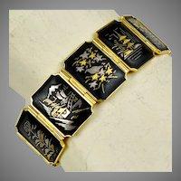 Vintage Gold & Silver Inlay Bracelet