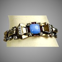 Retro Vermeil Sterling Bracelet Red White & Blue Jewels