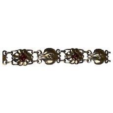 Retro Sterling Silver Carnelian Bracelet