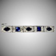 Art DecoBlue & White Crystal Bracelet