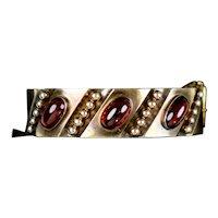 Victorian Wide 14K Gold Cabochon Garnet Bangle