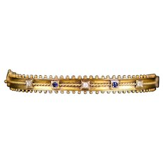 Art Deco English 15K Rose Gold Bangle w Diamonds Sapphires