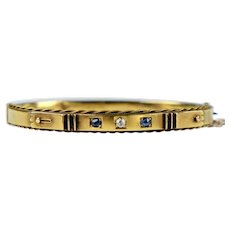 English Victorian 15K Rose Gold Bangle w Diamond & Sapphires