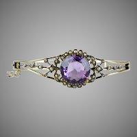 Victorian GF Amethyst Seed Pearl Bangle Bracelet