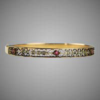 Art Deco Rose GF Bangle Bracelet with Red & White Paste Stones
