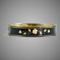 Victorian Black Enamel GF Bangle Bracelet Gold Front Flowers