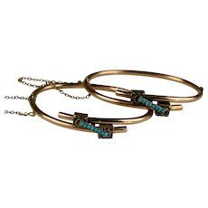Pair Victorian 14K Rose Gold Bangles with Turquoise