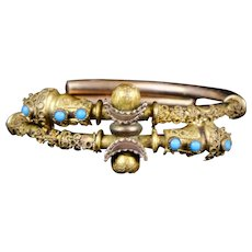 Victorian Etruscan Revival Rose GF Bangle Bracelet