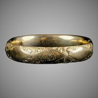 Victorian Wide Rose Gold Filled Bangle Bracelet