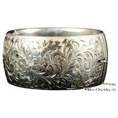 Victorian Sterling Silver Very Wide Bangle Bracelet by Birks