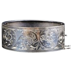 English Victorian Sterling Silver Wide Bangle Bracelet