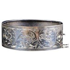 English Victorian Sterling Silver Wide Bangle Bracelet