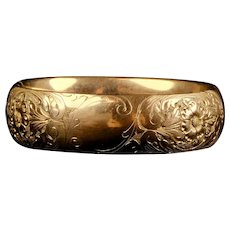 Victorian Wide Rose Gold Filled Bangle Bracelet Chasing