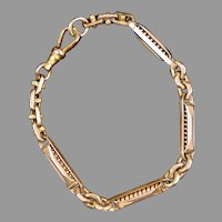 Victorian Chunky Gold Filled Link Watch Chain Bracelet