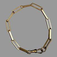 Victorian Gold Filled Paperclip Link Chain Bracelet