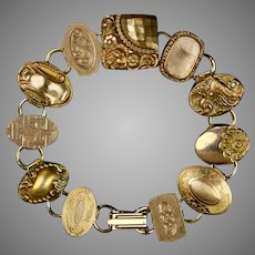 Rare Victorian Chunky Gold Filled Cuff Button Bracelet