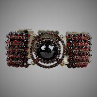 Antique Wide Bohemian Garnet Bracelet