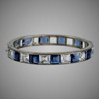 Art Deco Wide Sterling Silver Crystals Bangle Bracelet
