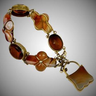 Scottish Victorian Agate Cairngorm Bracelet with Lock
