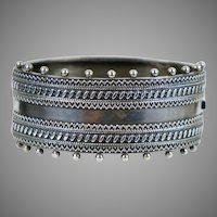 English Victorian  Wide Sterling Silver Bangle Bracelet