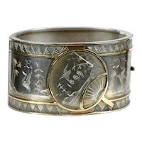 English Victorian Aesthetic Wide Sterling Silver & Gold Bangle Bracelet