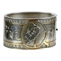 English Victorian Aesthetic Sterling & Gold Bangle Bracelet