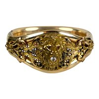 Victorian Rolled Gold GF Lion Head Bangle Bracelet