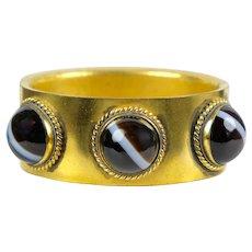 Antique Victorian Bold Banded Agate Bangle Bracelet