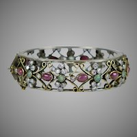 Vintage Stunning Genuine Stones Bangle Bracelet